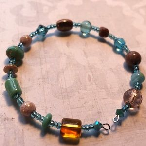 Brown and blue wire wrap bracelet